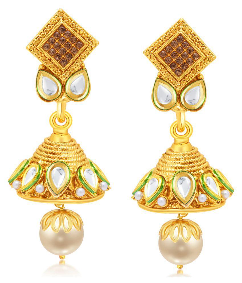 Sukkhi Golden Jhumki Earrings Single Pair