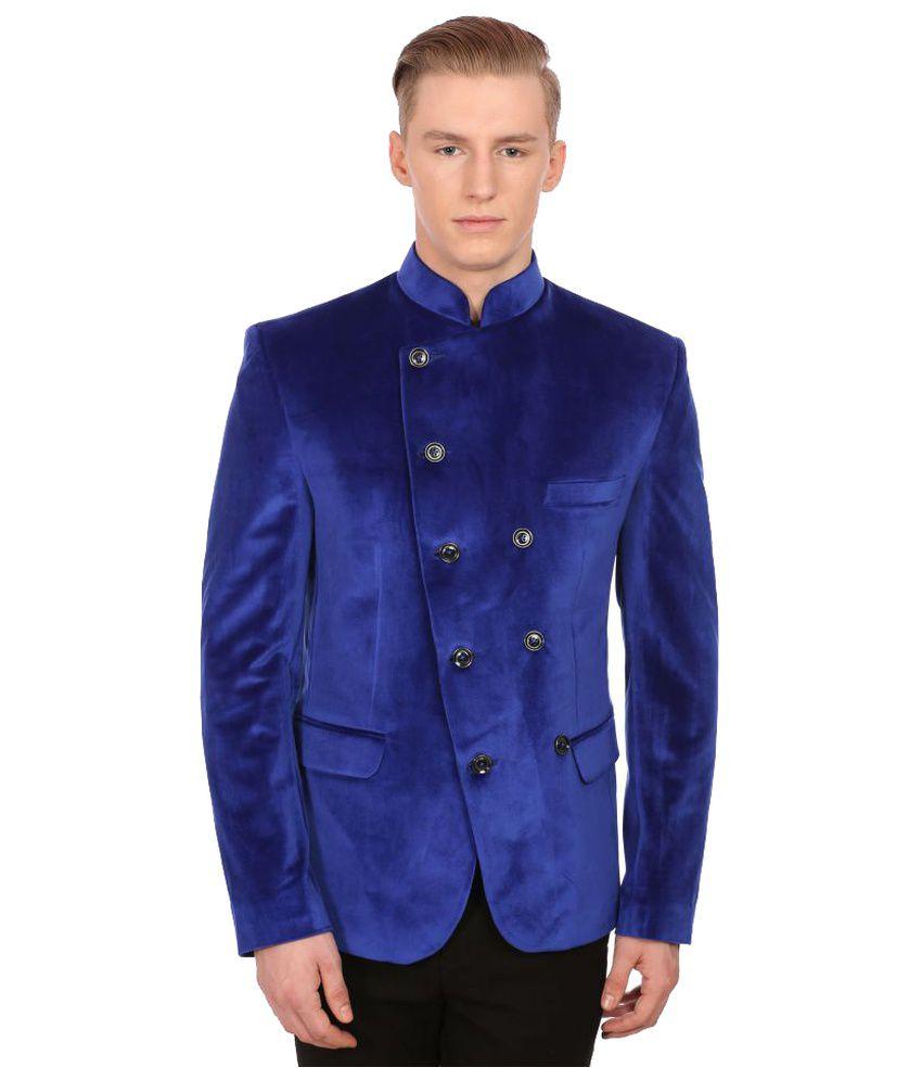Wintage Blue Solid Party Blazers No
