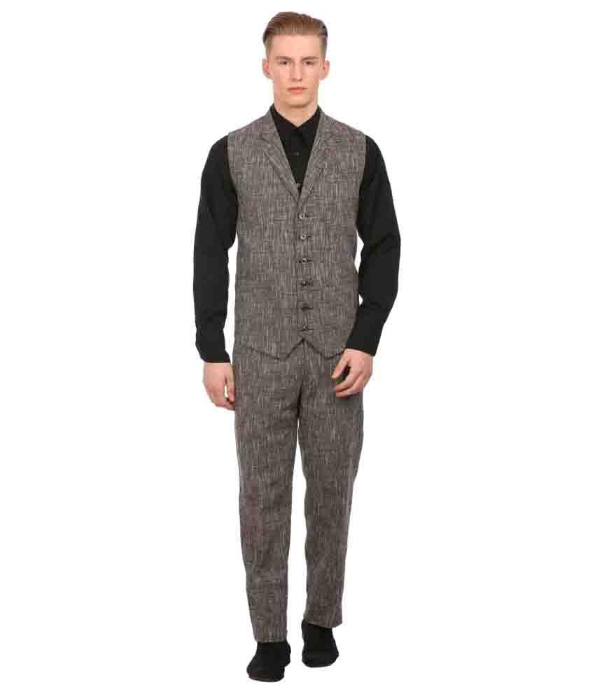 Wintage Brown Solid Casual 2 Piece Suits No