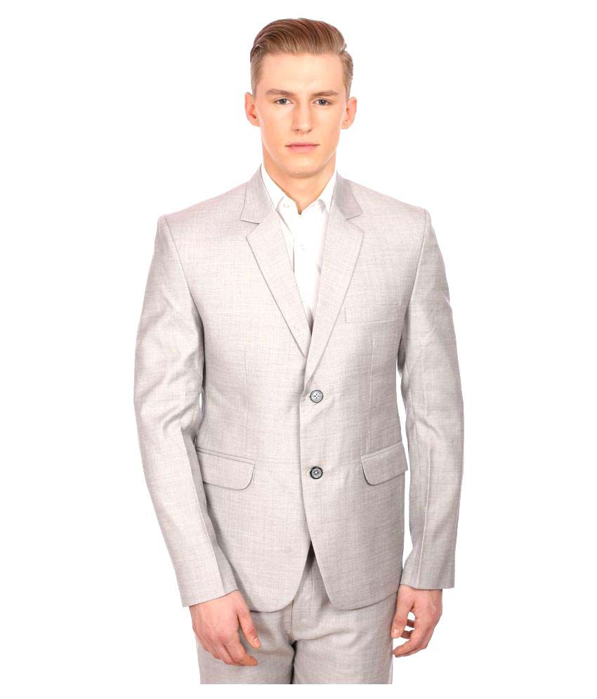 Wintage Silver Solid Party Blazers No