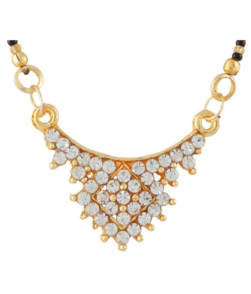 9blings Fashionable Cubic Zirconia Gold Plated Black Gold Beads Zinc Alloy Mangalsutra