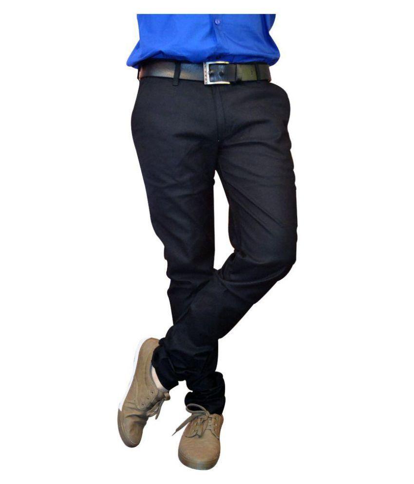 Sandhya's Black Regular Flat Trouser