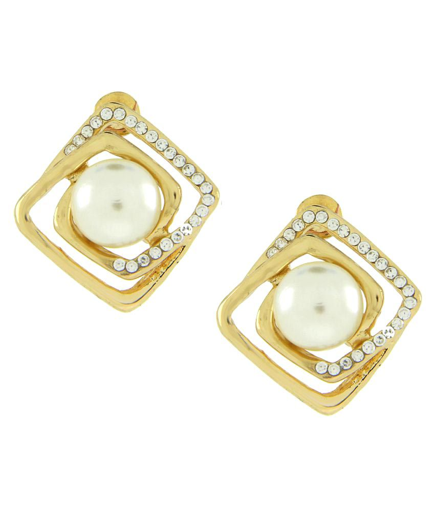 The Jewelbox Golden Studs Earrings Single Pair