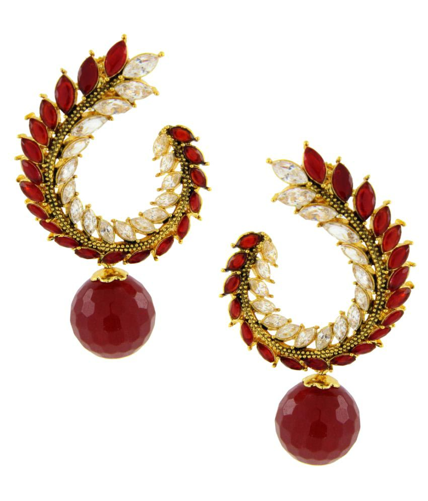 The Jewelbox Red Balis Earrings Single Pair