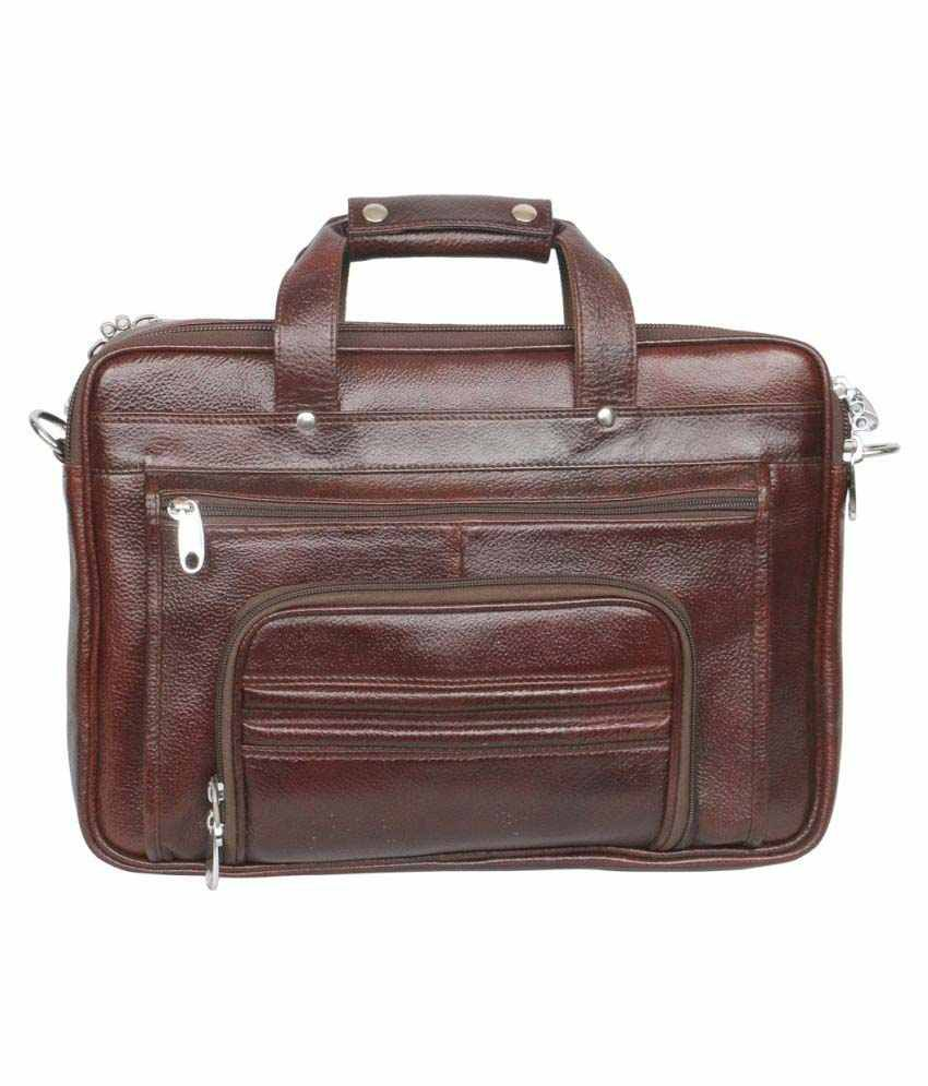 C Comfort Brown Leather Office Bag