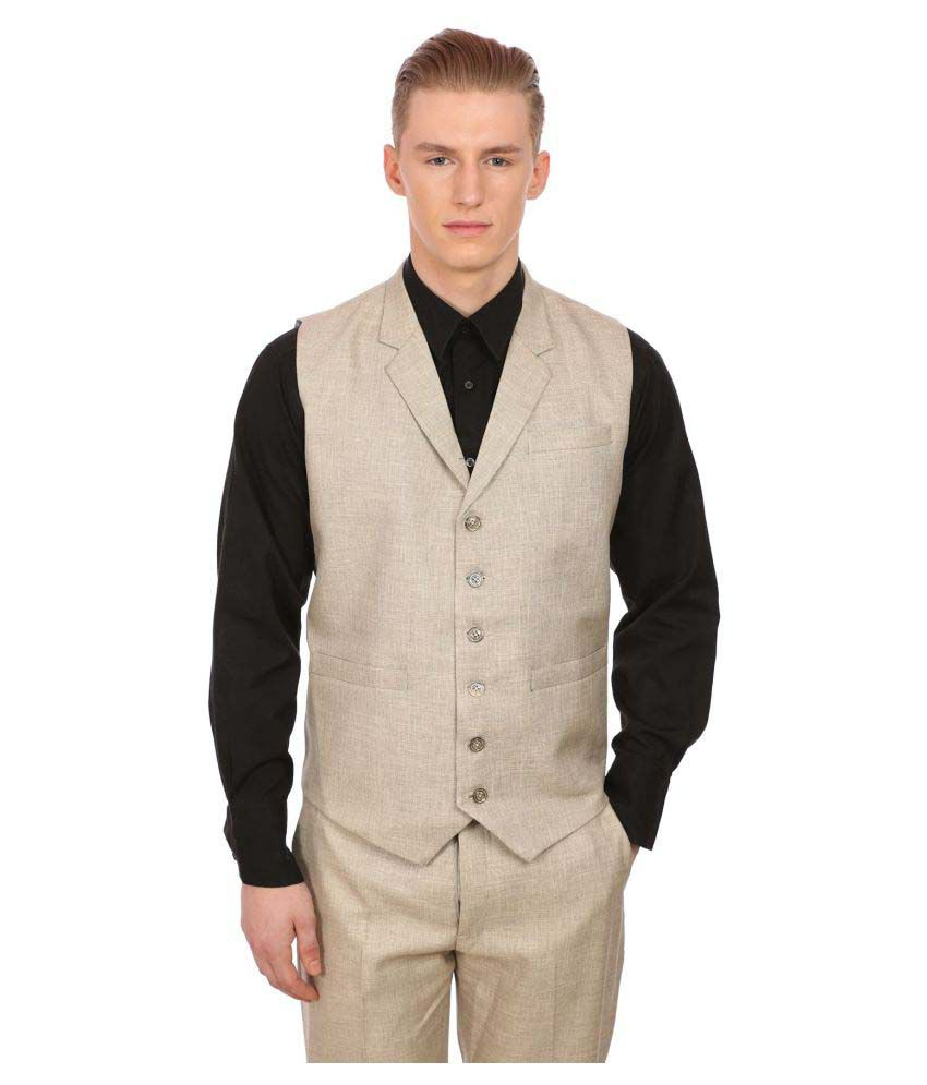 Wintage Beige Solid Party Waistcoats No