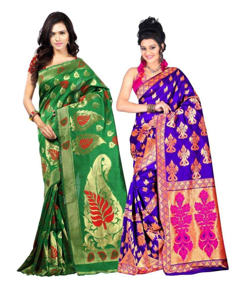 Jay Fashion Multicoloured Art Silk Saree Combos