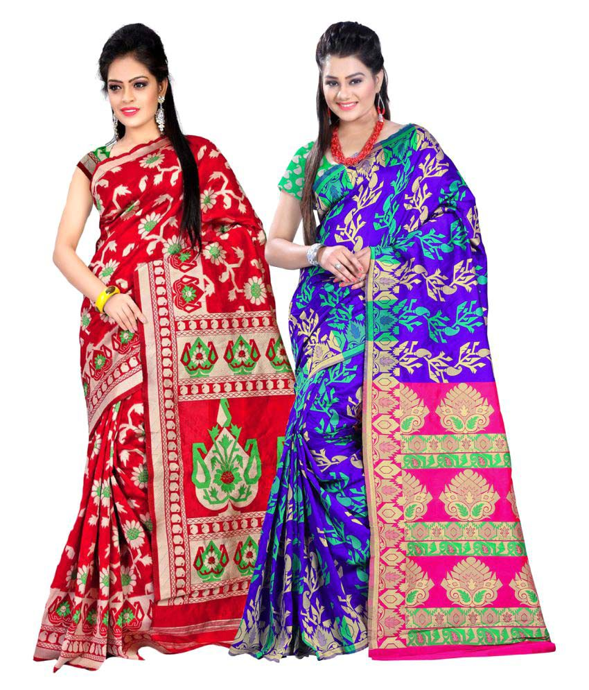 Jay Fashion Multicoloured Art Silk Saree Combos