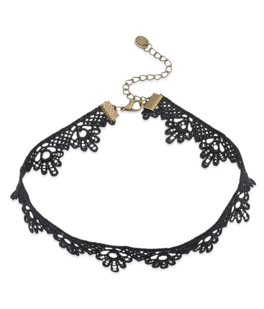 Oomphs Black Lace Choker Necklace