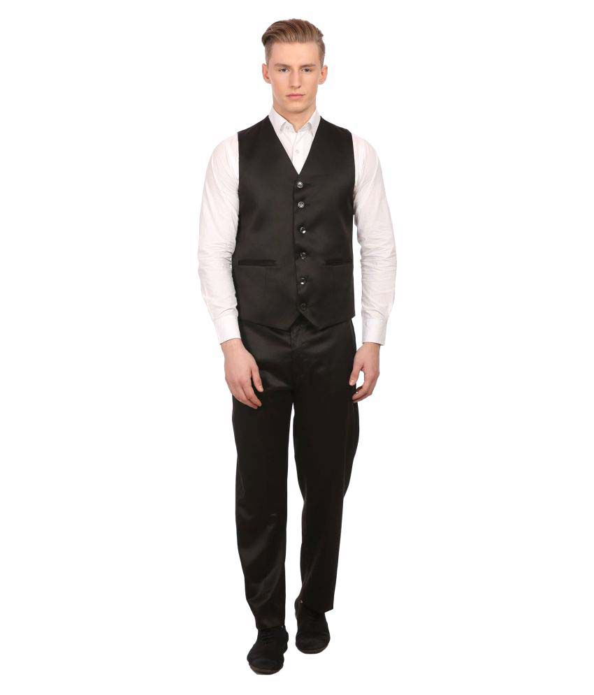 Wintage Black Solid Party 2 Piece Suits