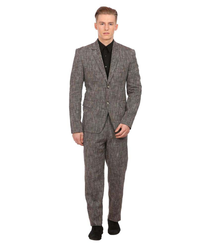 Wintage Brown Solid Party 2 Piece Suits