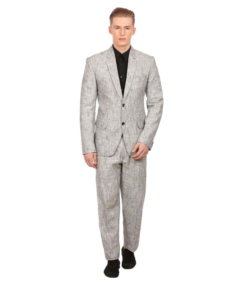 Wintage Grey Solid Party 2 Piece Suits No