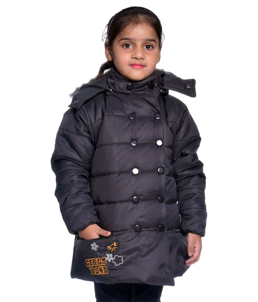 Come In Kids Black Polyester Girl's Solid Jacket Single