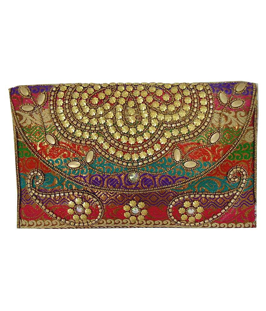 Shree Ganpati Plaza Multi Fabric Box Clutch