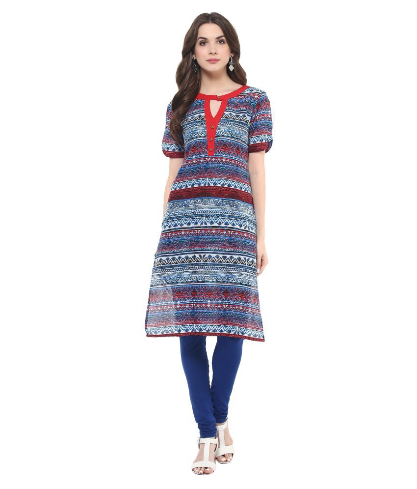Pannkh Multicoloured Cotton Straight Kurti