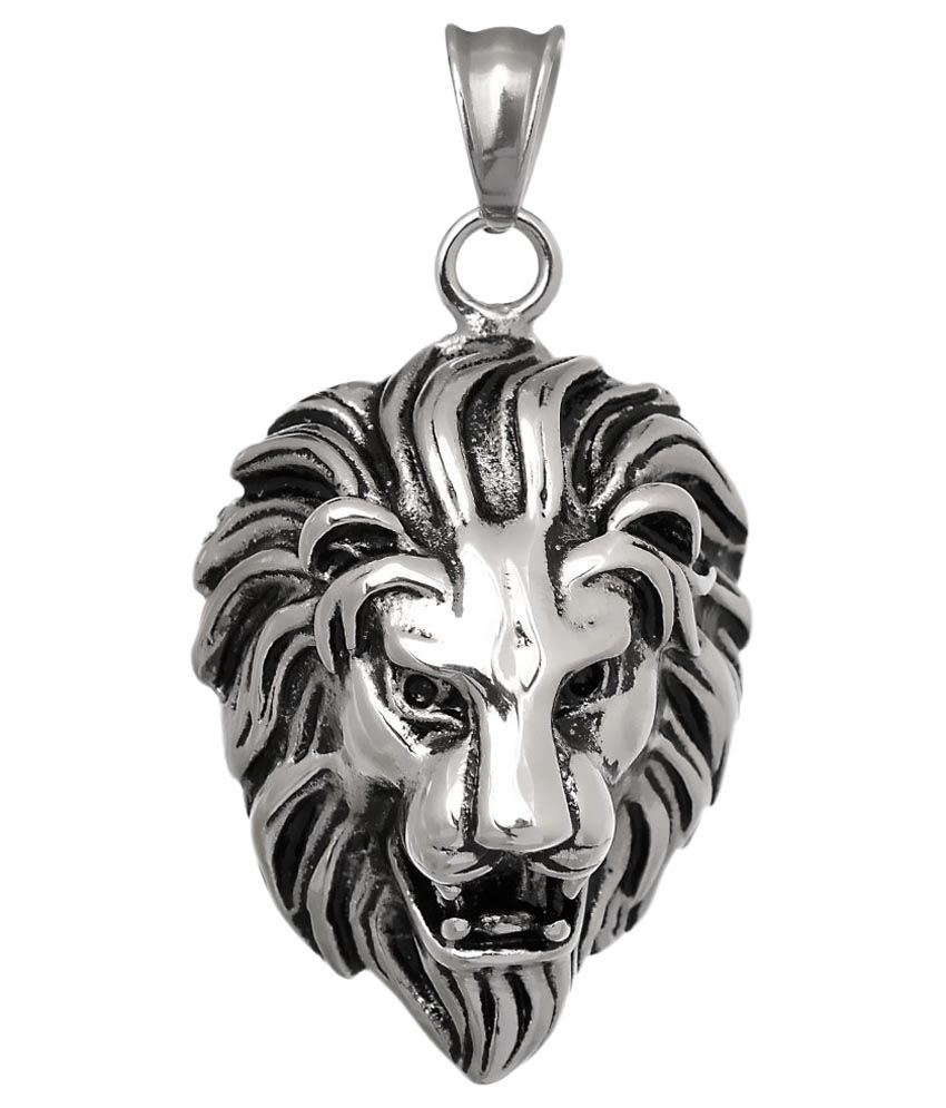 Pendant for Men Boys Silver Stainless Steel Lion Face Singham Stylish by BeBold
