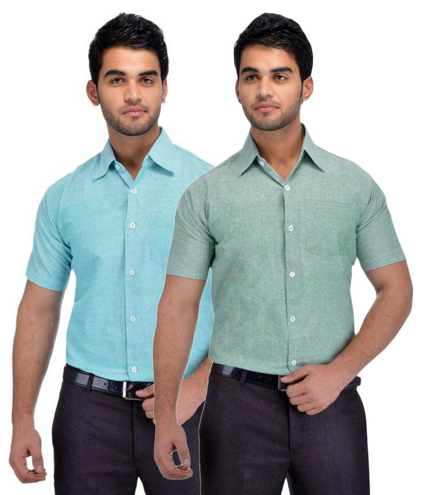 Khadi Multi Formal Regular Fit Shirt Pack of 2