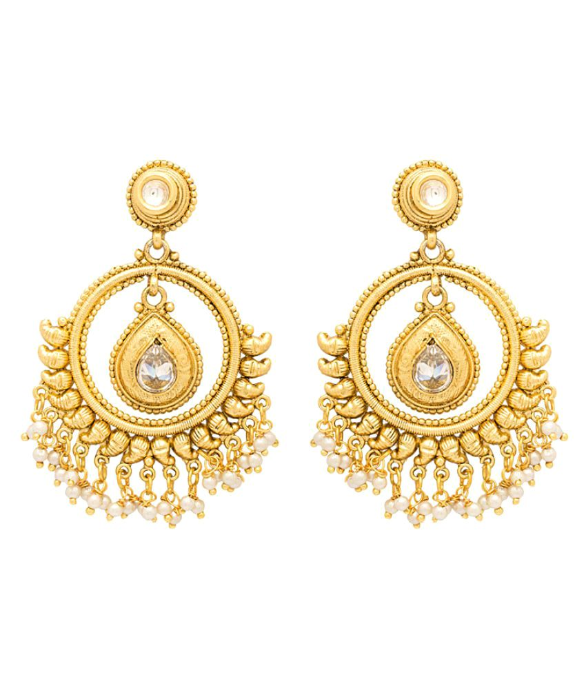 Voylla Chandbali-Style Drop Earrings with Gold Plating