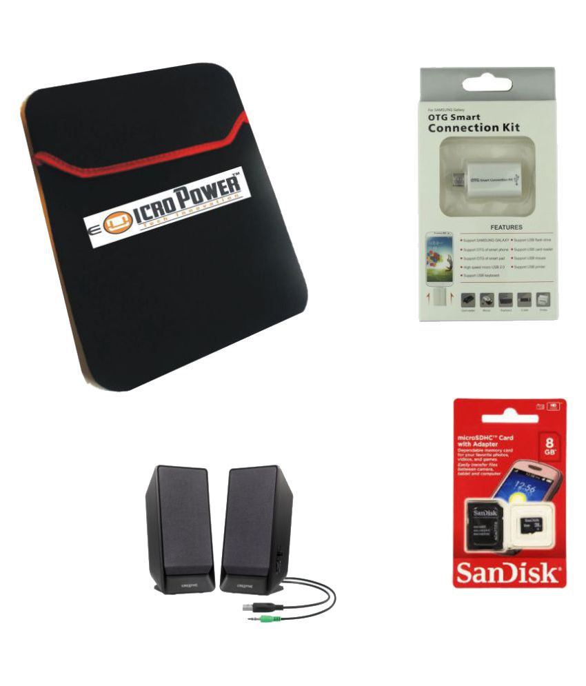 E Micro Combo of Black Laptop Sleeves, Creative Speaker, Sandisk 8GB and OTG Cable