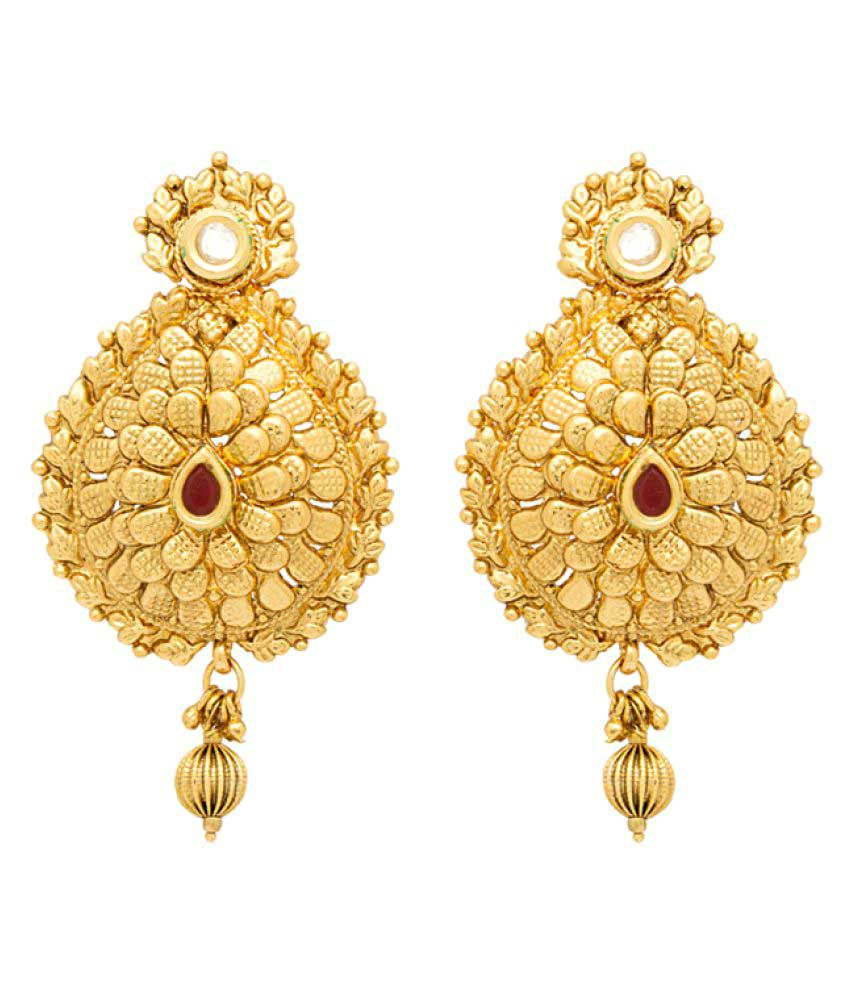 Voylla Golden Drop Earrings With Gold Plating And Red And White Gems