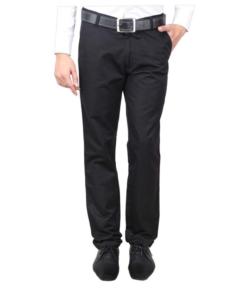 Wralvin Black Slim Flat Trouser