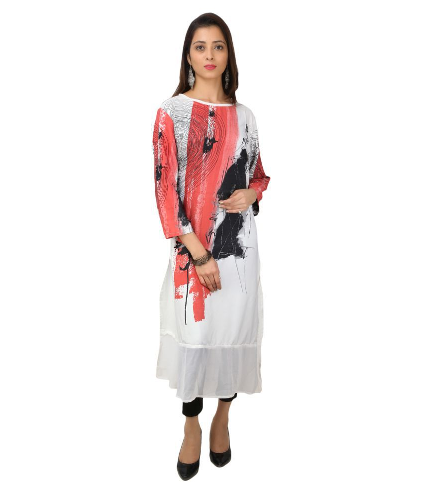 Wralvin Multicoloured Crepe Straight Kurti