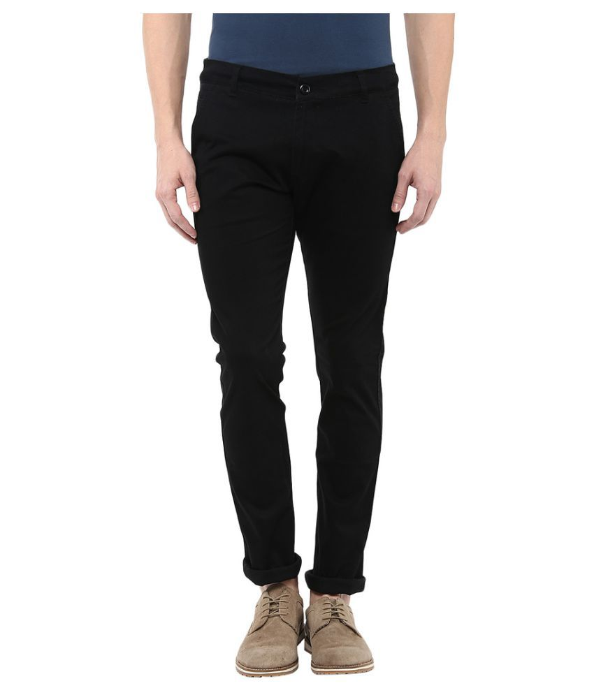 Bukkl Black Slim Flat Chinos