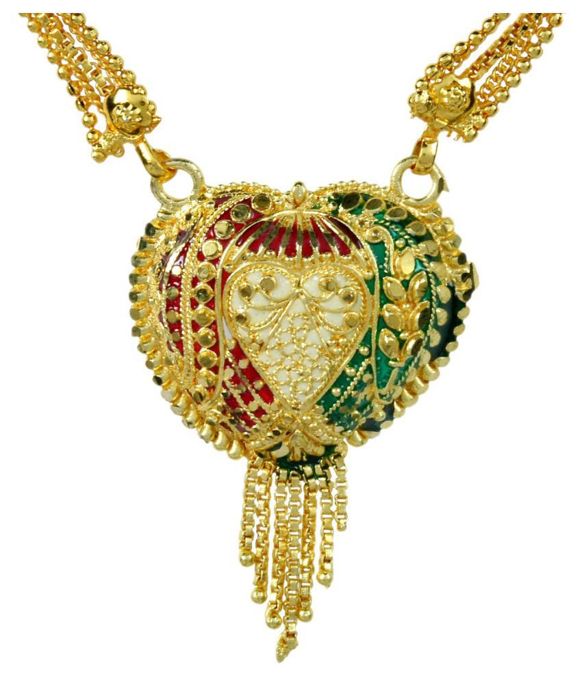 Memoir Gold plated, Heartshape All Gold Meenakari Filigree Stylish Mangalsutra Jewellery For Women for Diwali