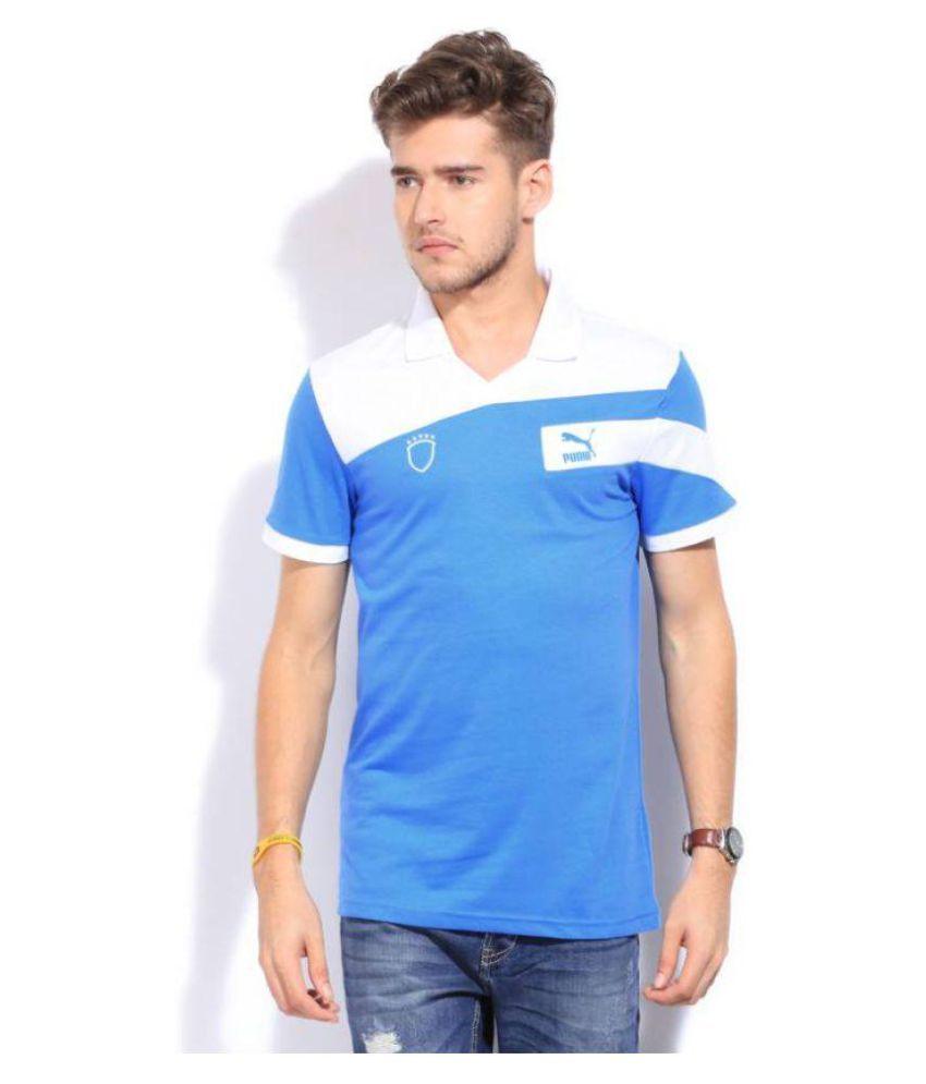 Puma Blue Regular Fit Polo T Shirt