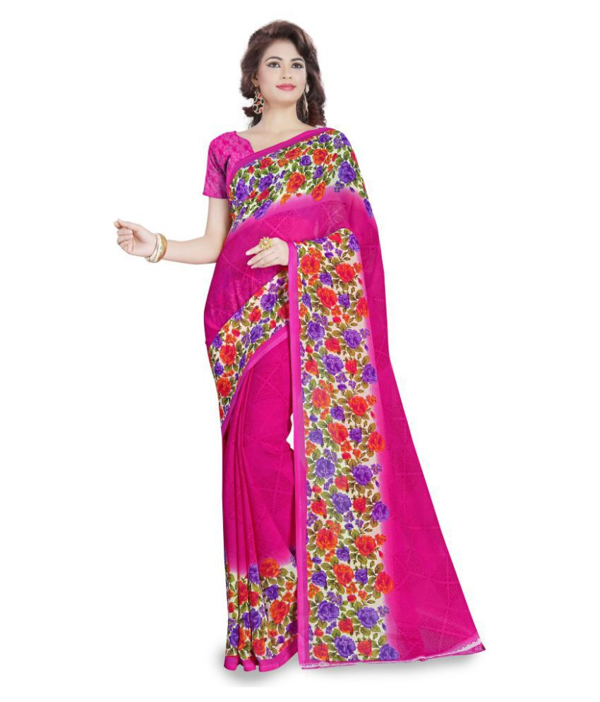 Aagaman Fashions Pink Georgette Saree