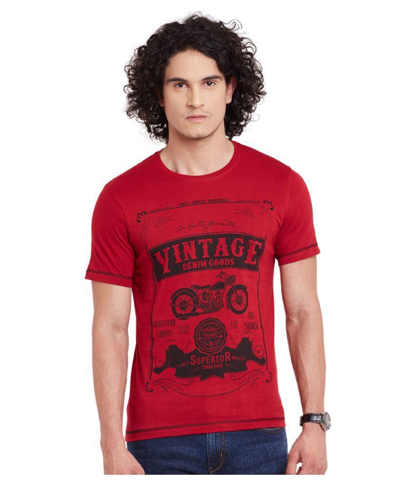 Fast N Fashion Maroon Round T-Shirt