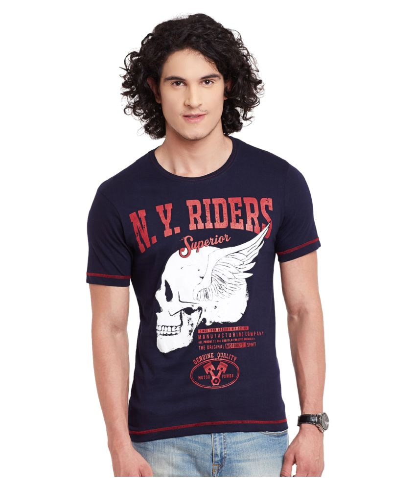 Fast N Fashion Navy Round T-Shirt