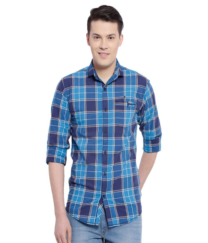 Fifty Two Blue Casuals Regular Fit Shirt
