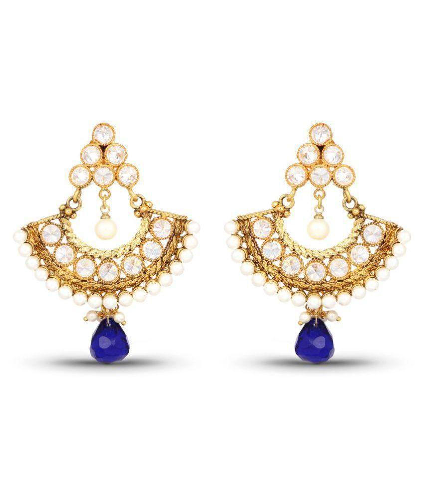 Johareez Handmade Gold Plated Multi Gemstone Earrings For Women