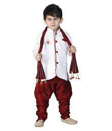 Dixita Multicolour Cotton Boys Sherwani With Duppata Set