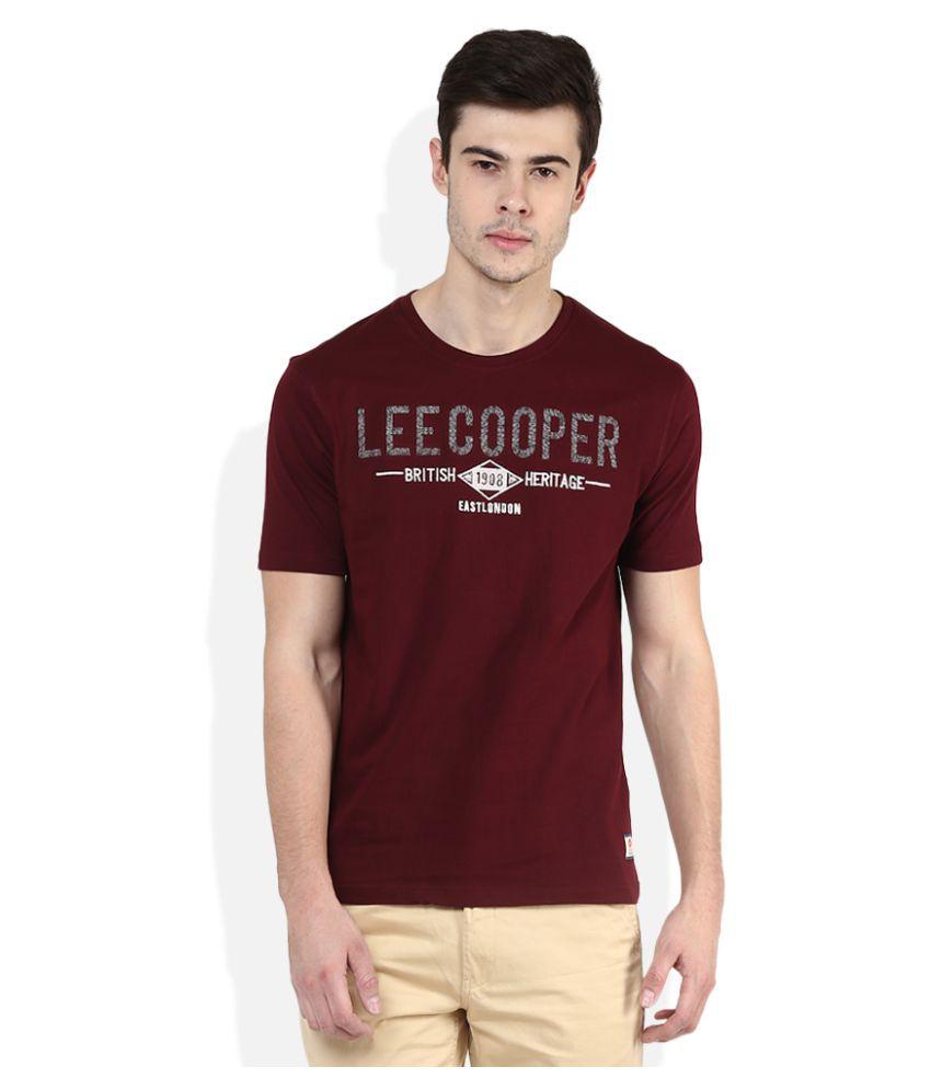 5da48f5001d Lee Cooper Maroon Round T-Shirt - Buy Lee Cooper Maroon Round T ...