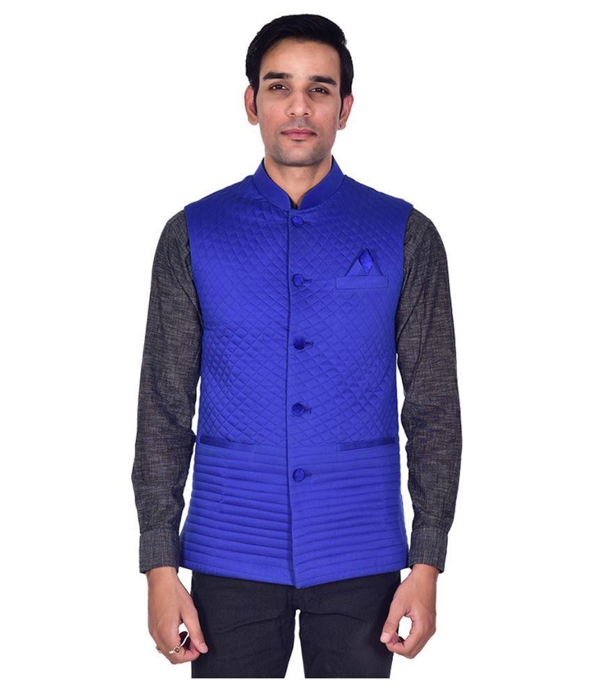 ellegent exports blue cotton blend nehru jacket