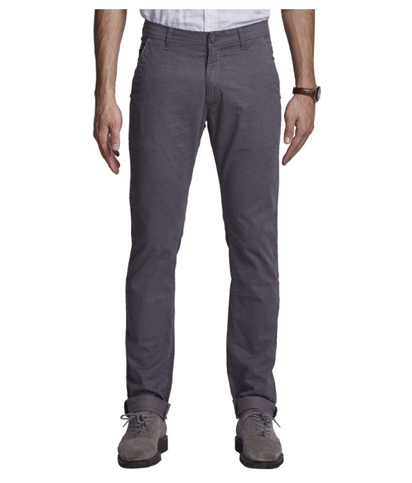 Beevee Grey Regular Flat Trouser