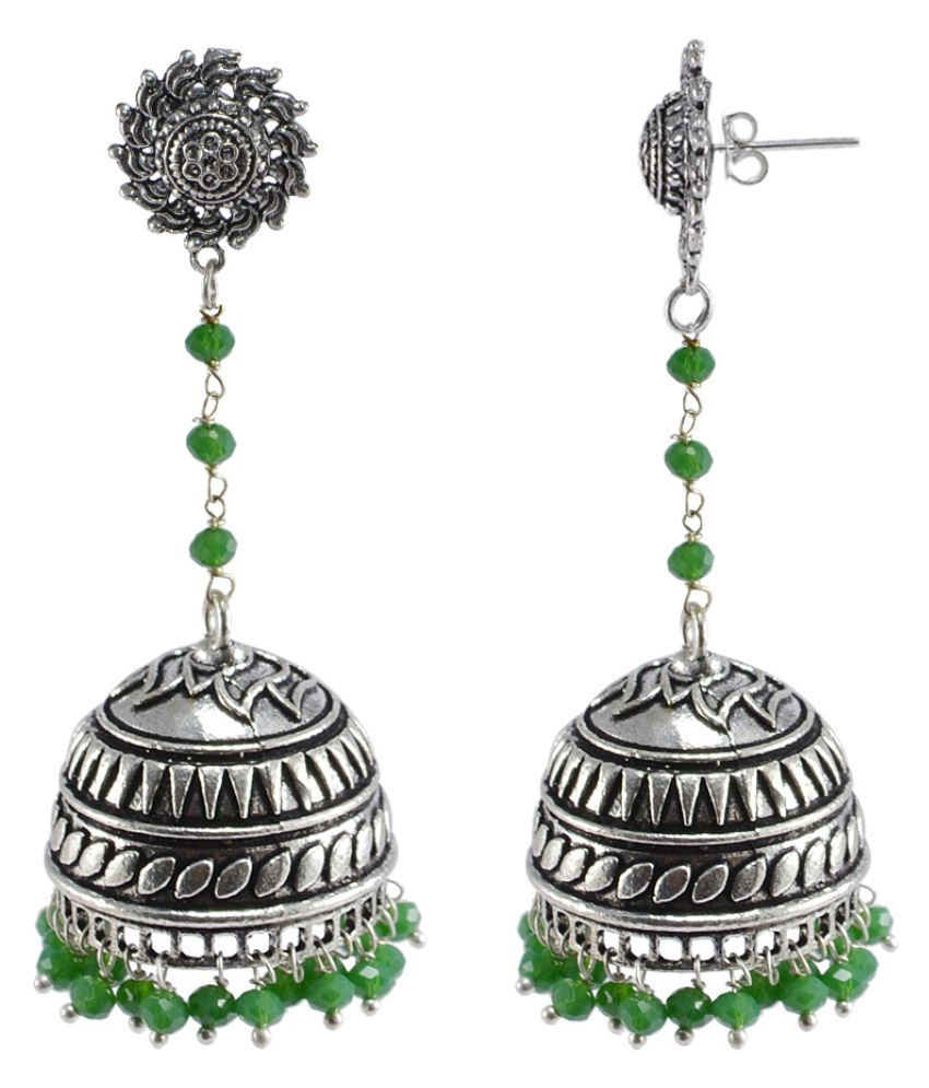 Rajasthani Jewellery 925 Silver Plated With Green Quartz Stones Beads Festival Jhumki Earring