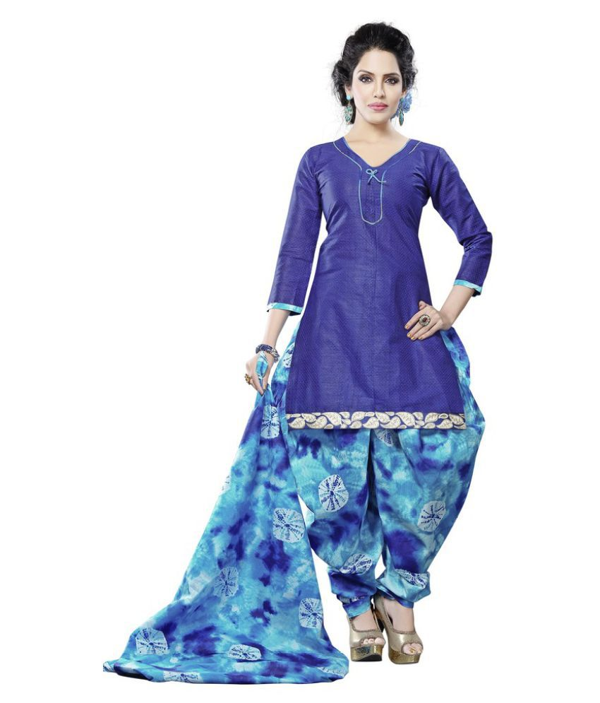Minu Blue Cotton A-line Stitched Suit