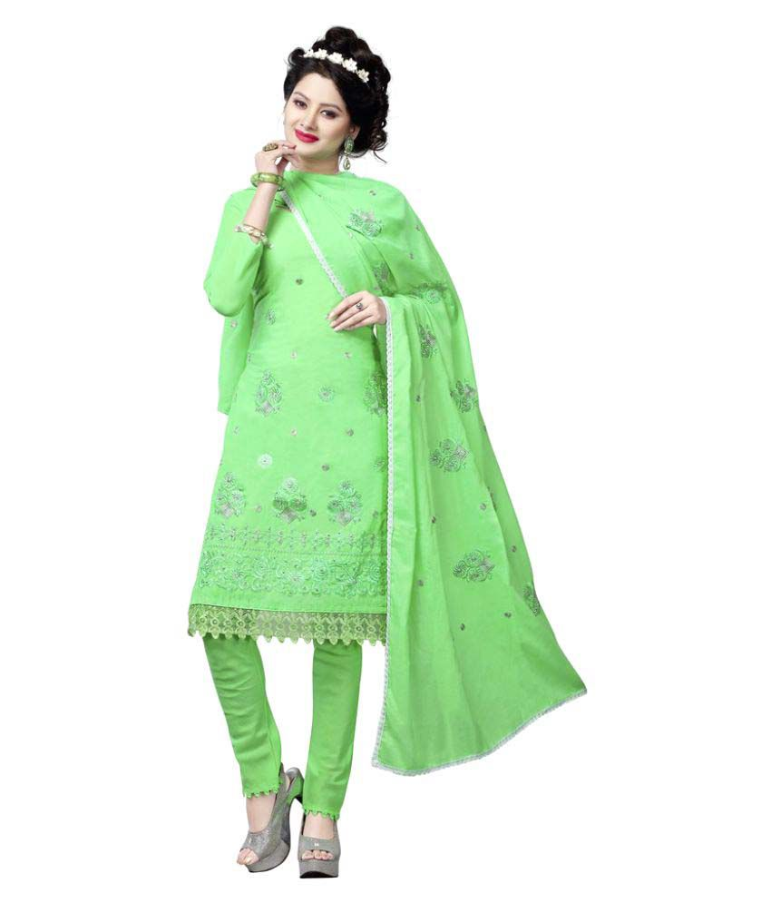 Minu Green Cotton A-line Stitched Suit