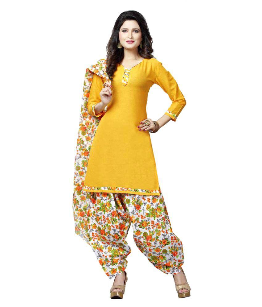 Minu Gold Cotton A-line Stitched Suit