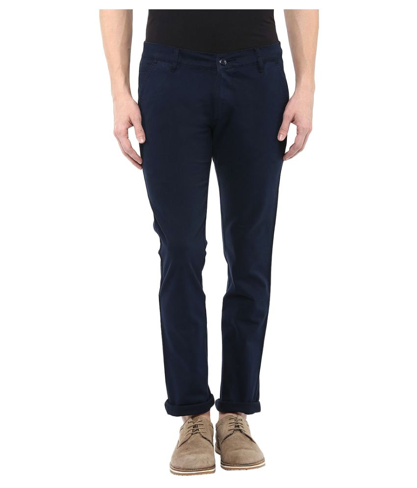 Bukkl Navy Blue Slim -Fit Flat Chinos