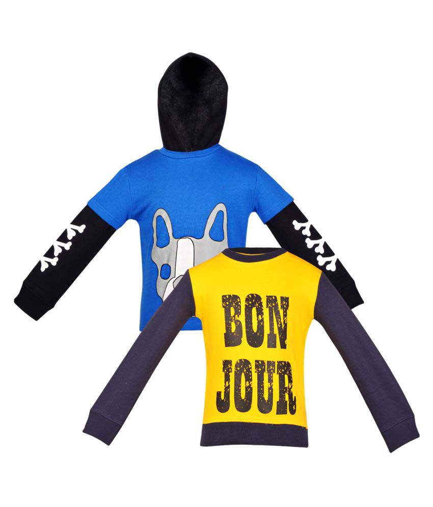 GKIDZ Pack Of 2 Girls Multi Color Fleece Sweat Shirt Combo.