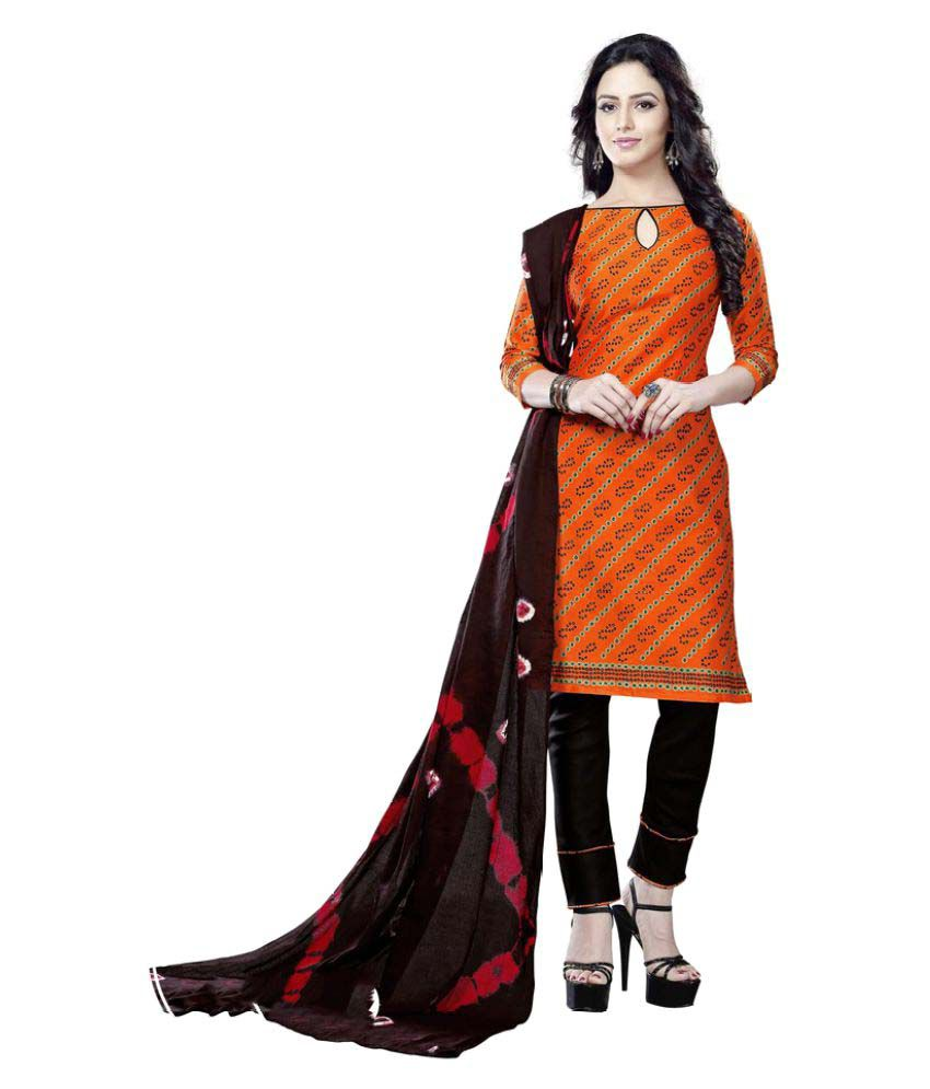 Minu Orange Cotton Straight Stitched Suit