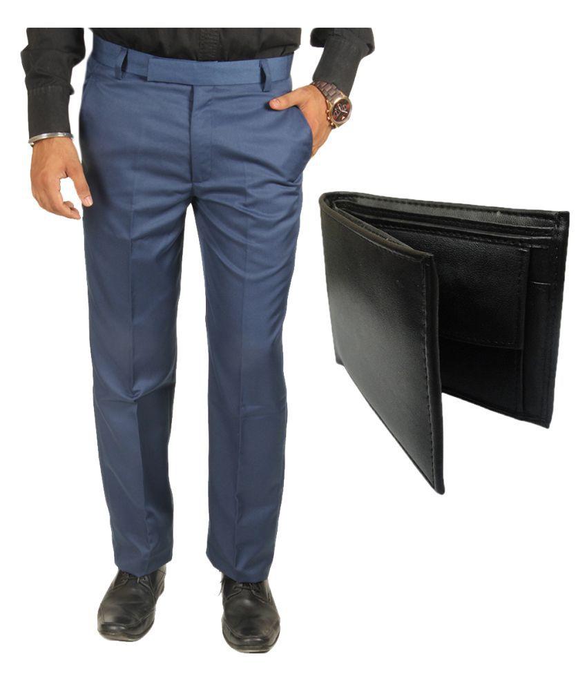 Van Galis Blue Regular Pleated Trouser