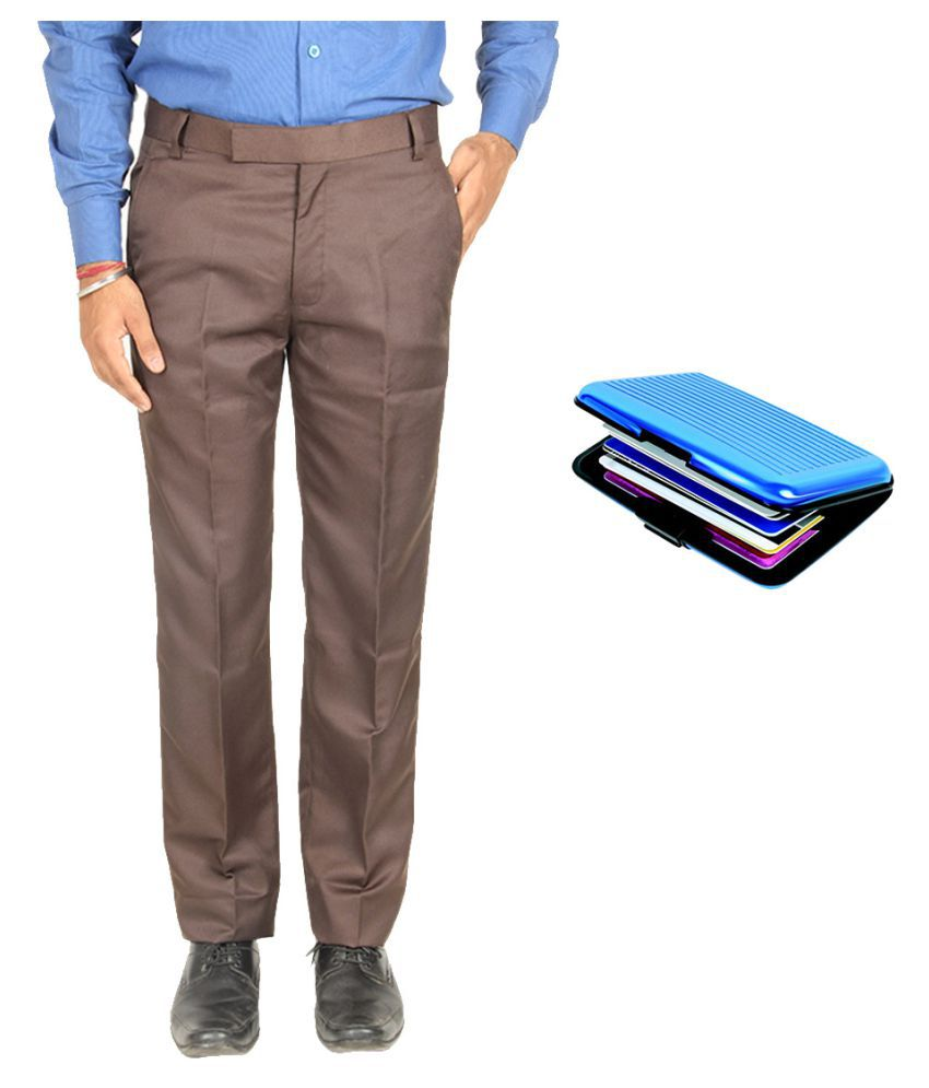 Van Galis Brown Regular Flat Trouser