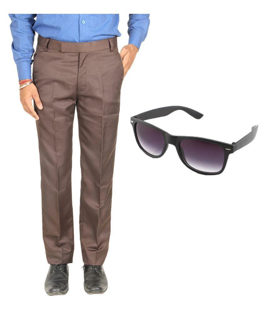 Van Galis Brown Regular Pleated Trouser