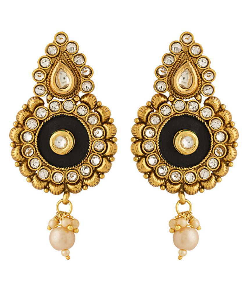 Voylla Artistic Design Earrings Studded With Pearls