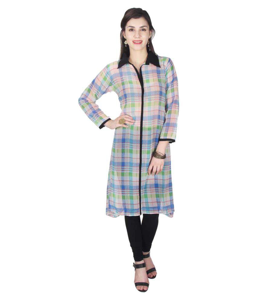 Khushi Fashions Multicoloured Georgette Straight Kurti